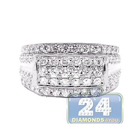 Mens Round Diamond Signet Band Ring 14K White Gold 2.50ct