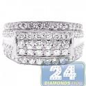 14K White Gold 2.50 ct Diamond Mens Signet Band Ring