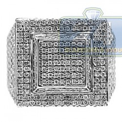14K White Gold 2.45 ct Diamond Mens Signet Ring