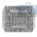 14K White Gold 2.45 ct Diamond Mens Large Square Ring