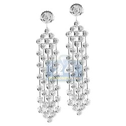 Womens Diamond Drop Chandelier Earrings 14K White Gold 2.24 ct