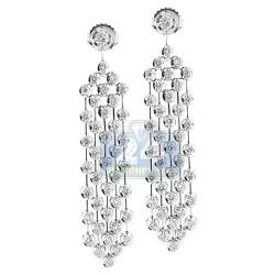 14K White Gold 2.24 ct Diamond Womens Chandelier Earrings