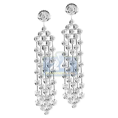 Womens diamond drop chandelier earrings 14k white gold 224 ct aloadofball Images