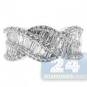 14K White Gold 1.35 ct Baguette Diamond Womens Ring