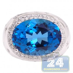14K White Gold 25.43 ct Blue Topaz Diamond Womens Cocktail Ring