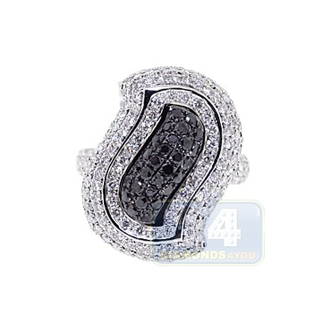 14K White Gold 2.81 ct Black Diamond Womens Leaf Ring