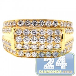 14K Yellow Gold 2.45 ct Diamond Mens Signet Band Ring