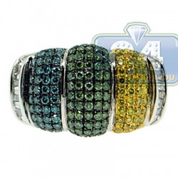 14K White Gold 2.50 ct Colored Diamond Mens Puff Ring