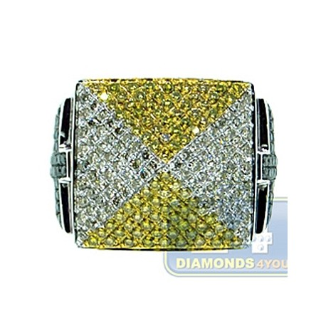 14K White Gold 2.02 ct Multi Colored Diamond Mens Cross Ring