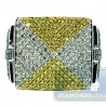 14K White Gold 2.02 ct Multi Colored Diamond Mens Cross Ring