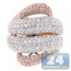 14K Rose White Gold 3.56 ct Diamond Wave Band Ring