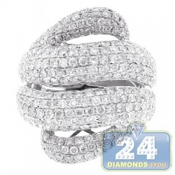 14K White Gold 3.50 ct Diamond Womens Wave Shape Ring
