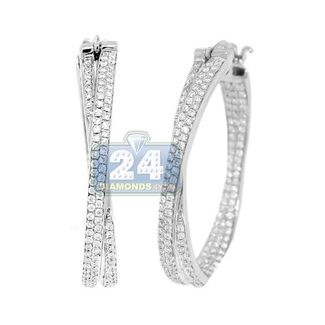 Womens Diamond X Shape Hoop Earrings 14K White Gold 1.42 ct