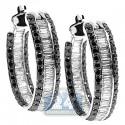 14K White Gold 3.70 ct Baguette Diamond Oval Hoop Earrings