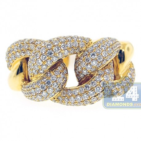 Womens Diamond Pave Cuban Link Ring Solid 18K Yellow Gold 1.90 Ct