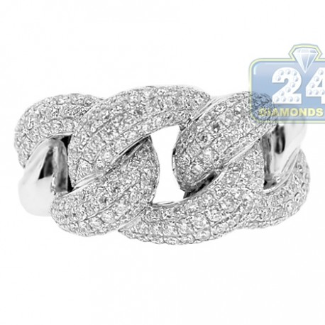 Womens Diamond Pave Cuban Link Ring Solid 18K White Gold 1.90 Ct