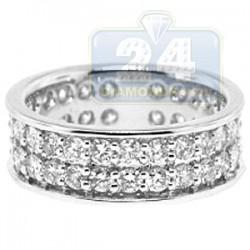 14K White Gold 2.44 ct 2 Row Diamond Womens Eternity Band Ring