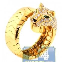 18K Yellow Gold 1.63 ct Diamond Womens Panther Cat Ring