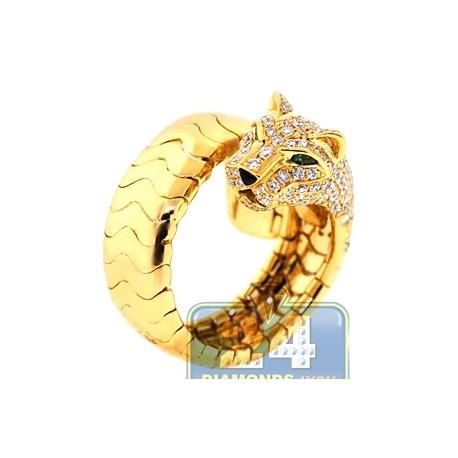 18K Yellow Gold 1.63 ct Diamond Womens Panther Cat Ring