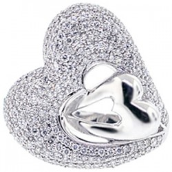 14K White Gold 2.71 ct Diamond Double Heart Womens Ring