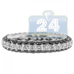 18K White Gold 2.37 ct All Way Black Diamond Womens Band Ring