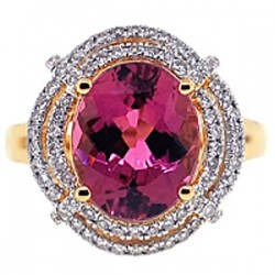 18K Yellow Gold 5.21 ct Pink Tourmaline Diamond Womens Ring