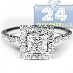 18K White Gold 1.75 ct Princess Cut Diamond Womens Engagement Ring