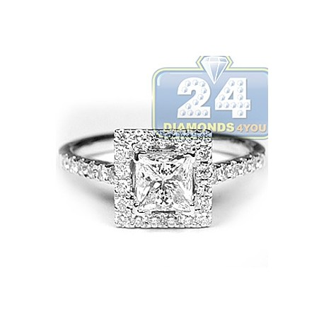18K White Gold 1.75 ct Princess Cut Diamond Womens Engagement Ring