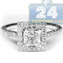 18K White Gold 1.75 ct Princess Cut Diamond Engagement Ring