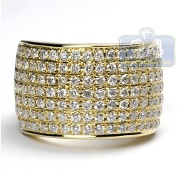 14K Yellow Gold 2.81 ct Diamond Womens Large Band Ring