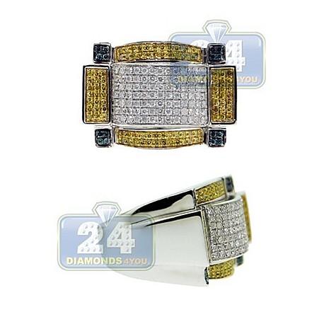 14K White Gold 1.30 ct White Blue Yellow Diamond Mens Ring