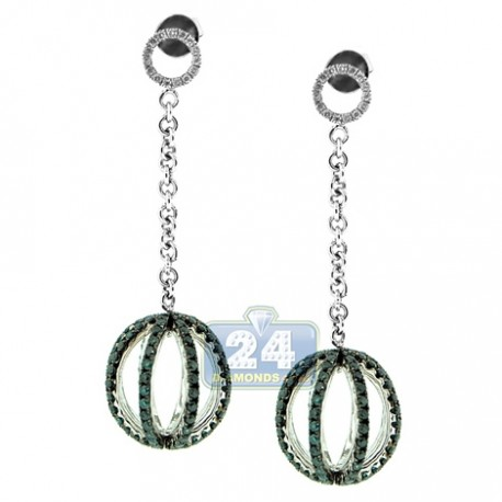 Womens Blue Diamond Ball Drop Earrings 14K White Gold 2.55 ct
