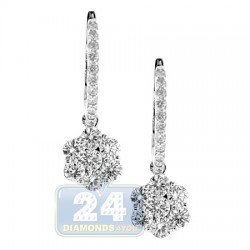 18K White Gold 1.40 ct Diamond Womens Drop Cluster Earrings