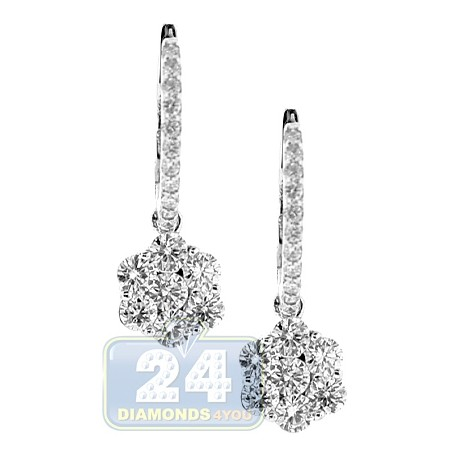 Womens Diamond Drop Cluster Earrings 18K White Gold 1.40 Carat