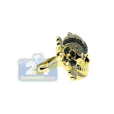 14K Yellow Gold 1.81 ct Black White Diamond Mens Skull Ring