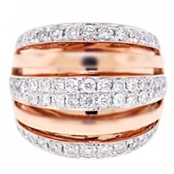 14K Rose Gold 1.89 ct Diamond Womens Multirow Ring