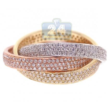 14K 3 Tone Gold 1.56 ct Diamond Three Flexible Bands Ring Set