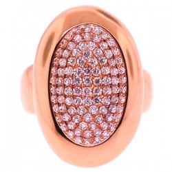 18K Rose Gold 1.12 ct Diamond Womens Oval Signet Ring