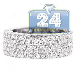 18K White Gold 2.51 ct Diamond Mens Wedding Band Ring