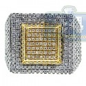 14K Two Tone Gold 2.10 ct Diamond Mens Square Shape Ring