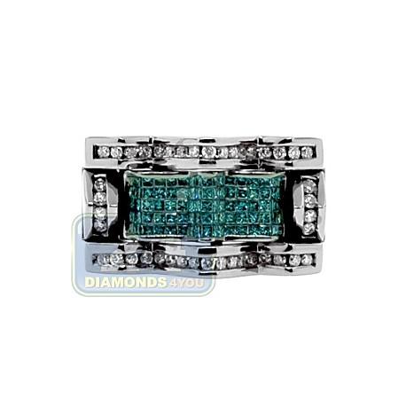 Black 14K White Gold 1.51 ct Diamond Mens Signet Ring