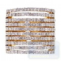 14K Yellow Gold 3.51 ct Diamond Multi-Row Womens Wide Ring