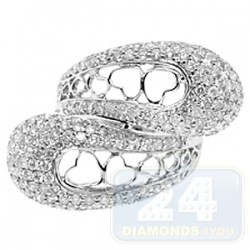 14K White Gold 2.80 ct Diamond Womens Openwork Heart Ring