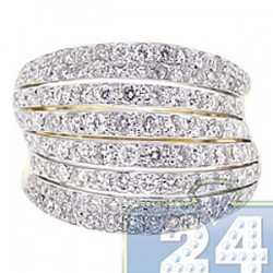 14K Yellow Gold 2.36 ct Eight Rows Diamond Womens Ring