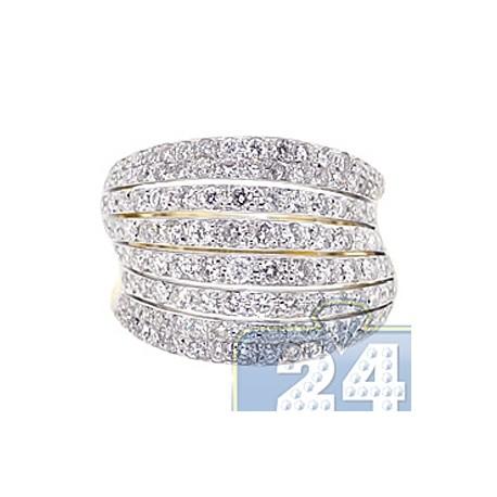 14K Yellow Gold 2.36 ct Eight Rows Diamond Womens Band Ring