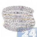 14K Yellow Gold 2.36 ct Eight Rows Diamond Womens Ring