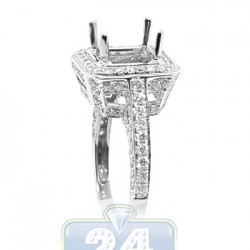 18K White Gold 1.45 ct Diamond Semi Mount Setting Womens Engagement Ring