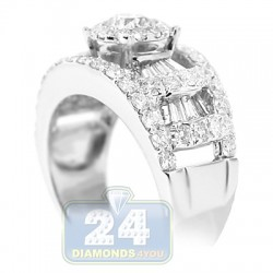14K White Gold 2.18 ct Diamond Womens Engagement Ring