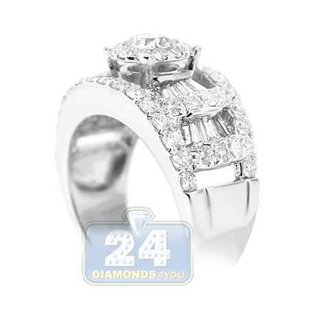 14K White Gold 2.18 ct Diamond Womens Engagement Ring
