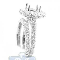 18K White Gold 1.79 ct Diamond Engagement Wedding Rings Set